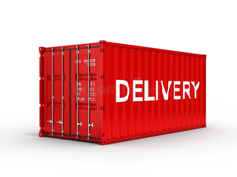 Cargo shipping container with an inscription delivery on white background 3d royalty free illustration