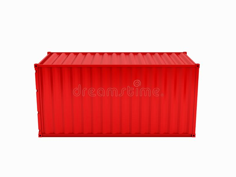 Cargo shipping container without inscription on white background 3d without shadow royalty free illustration