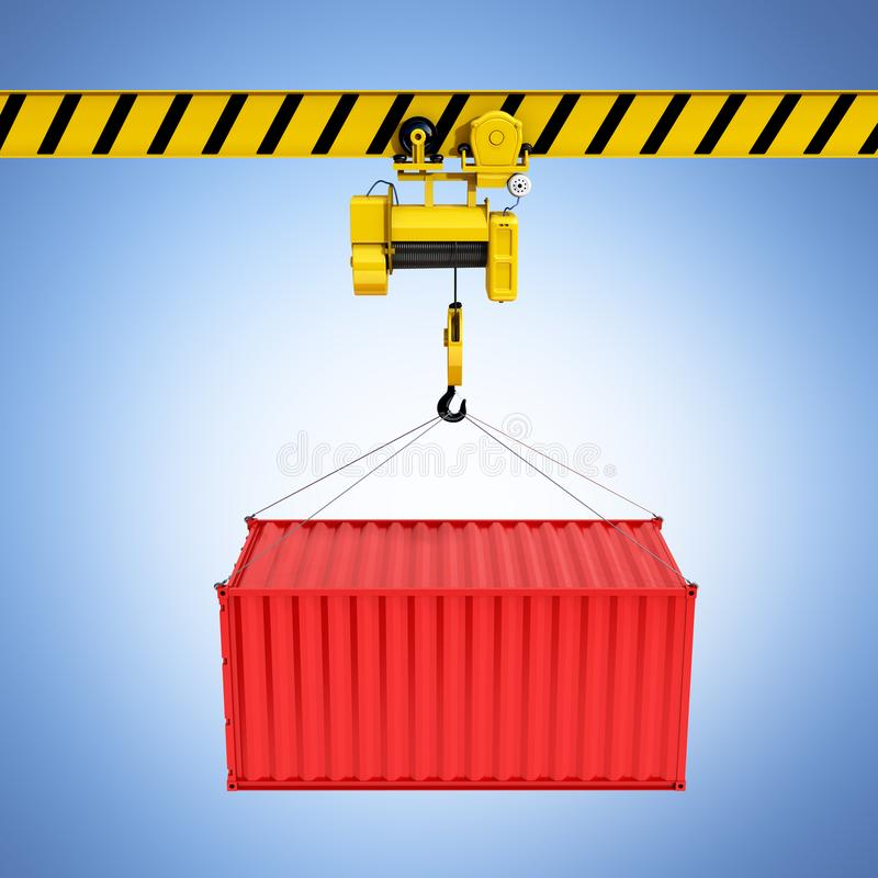 Cargo shipping container loading concept the crane lifts the container on blue gradient background 3d royalty free illustration