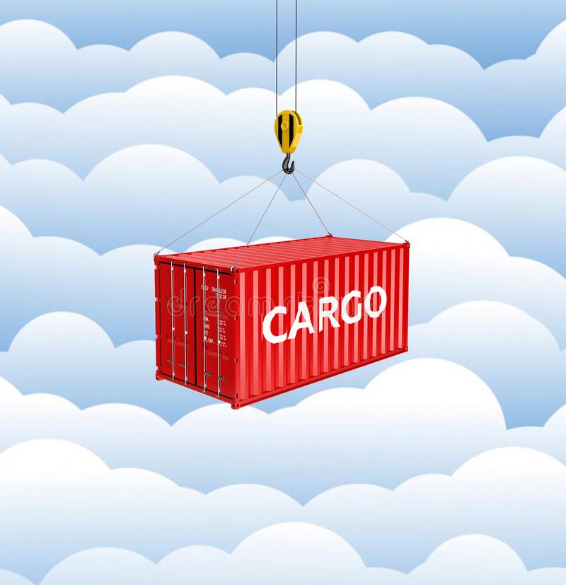 Cargo shipping container loading concept the crane lifts the container on cloud background 3d stock illustration