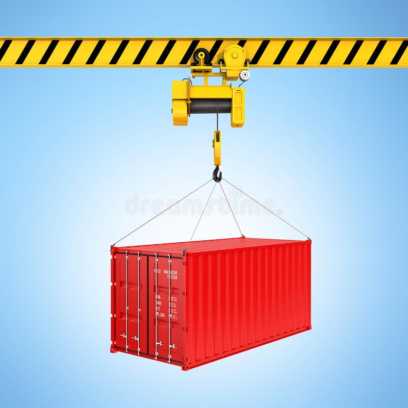 Cargo shipping container loading concept the crane lifts the container on blue gradient background 3d stock illustration