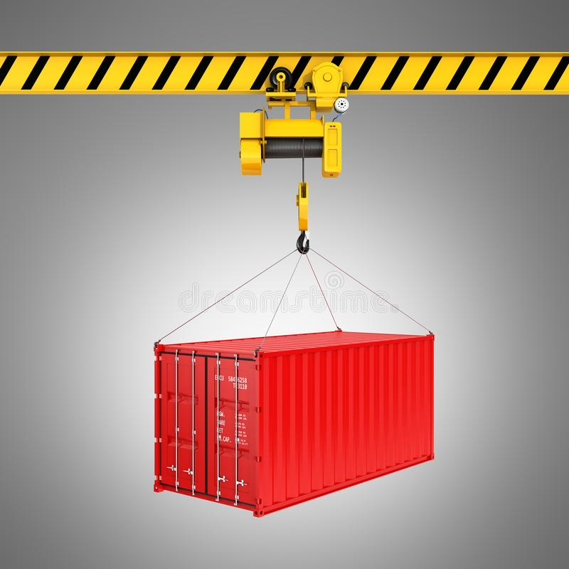 Cargo shipping container loading concept the crane lifts the container on grey gradient background 3d stock illustration