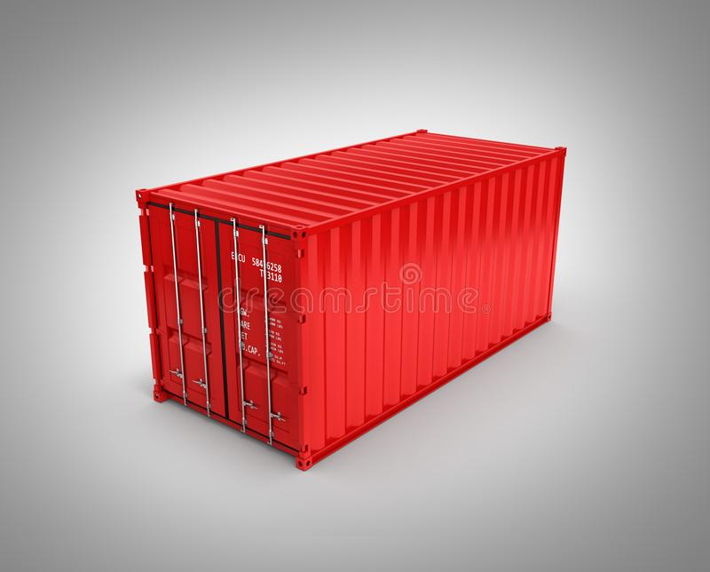 Cargo shipping container without shadow on grey gradient background 3d stock illustration