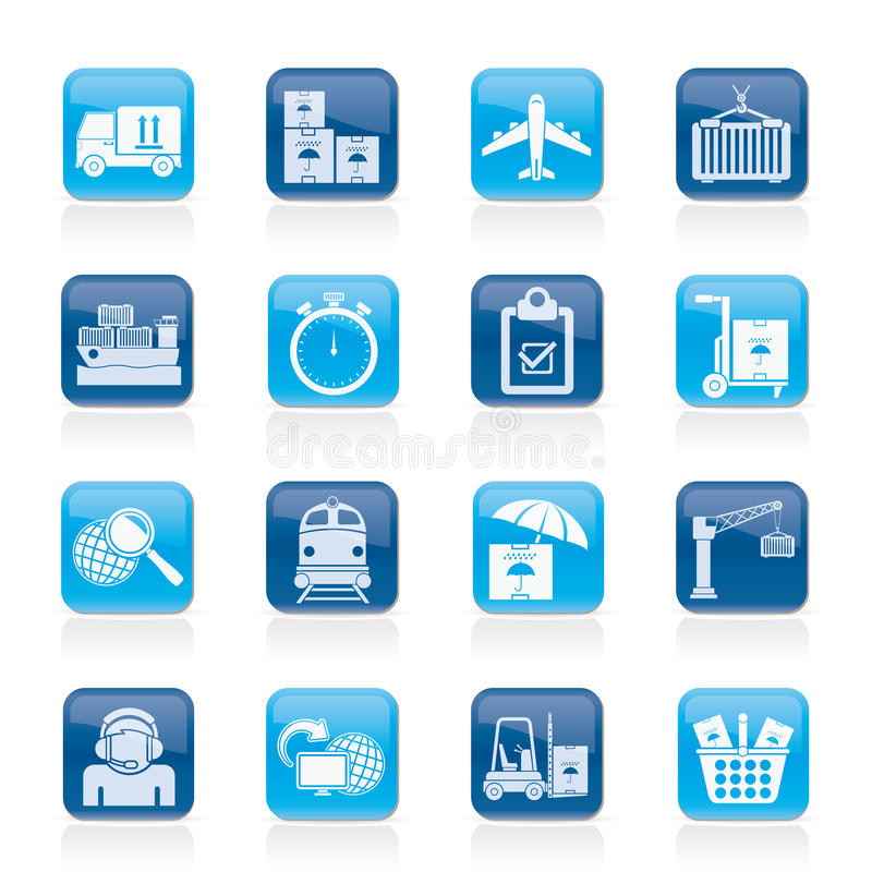 Cargo, Shipping And Logistic Icons Stock Photos