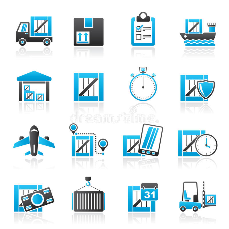 Cargo, shipping, Logistics and delivery. Vector icon set royalty free illustration