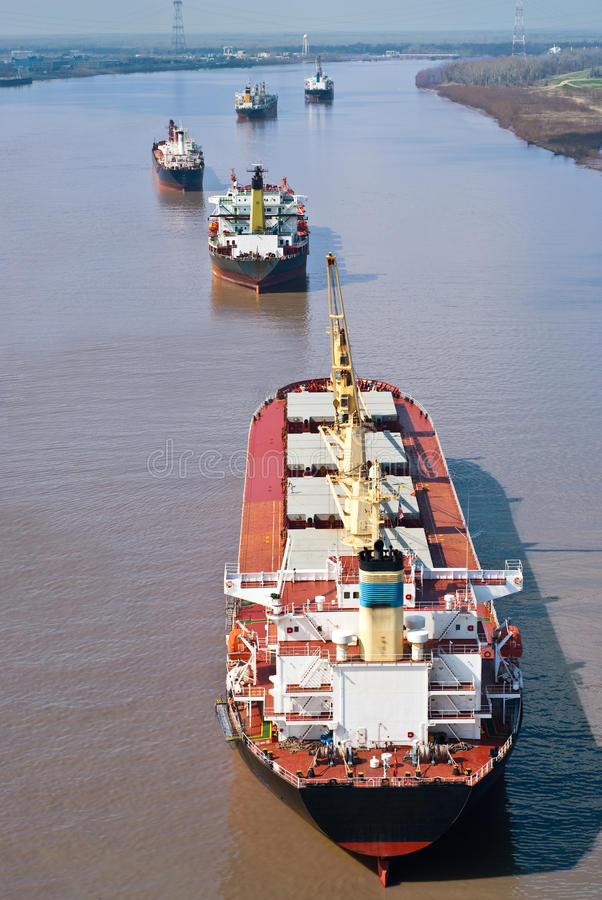 Cargo Ships At Anchor Stock Photo