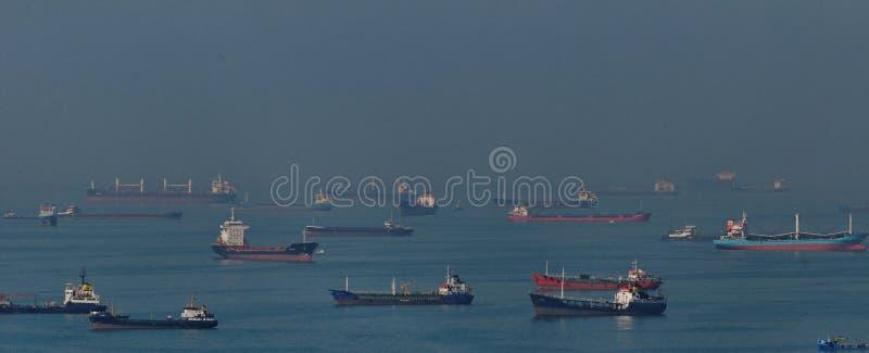 Cargo ships in Bosphorus Strait royalty free stock photography
