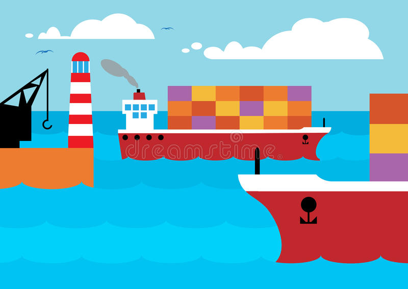 Cargo Ships. Container ships leaving and entering port, symbolizing trade with ships carrying imports and exports vector illustration