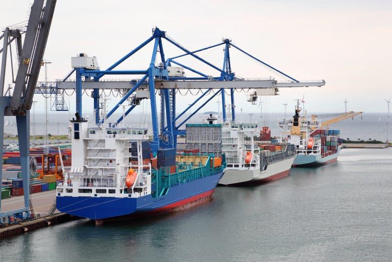 Download Cargo Ships In Copenhagen Seaport, Denmark Stock Image - Image: 26337601