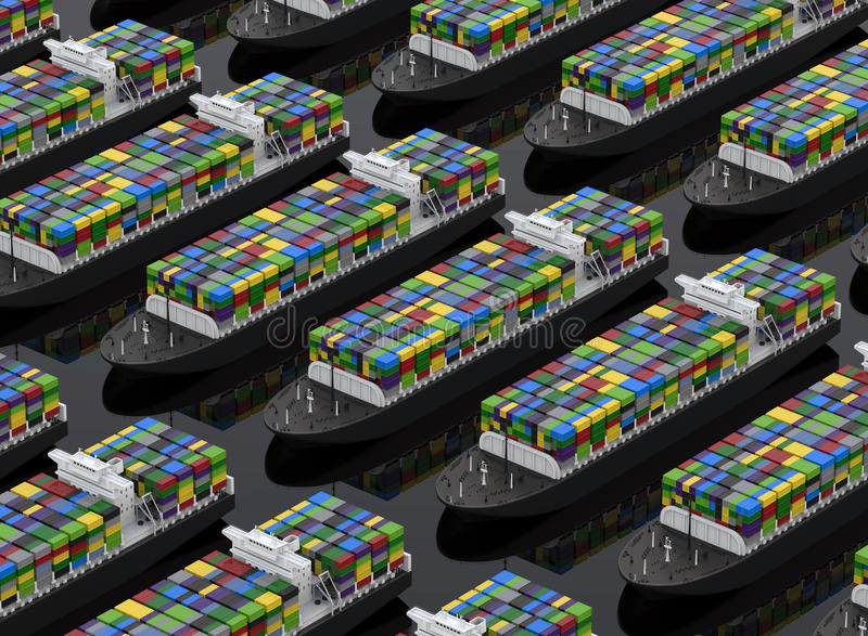 Cargo ships full of containers. 3D rendered illustration of multiple cargo ships arranged in a linear pattern, each ship is carrying a high amount of containers stock illustration