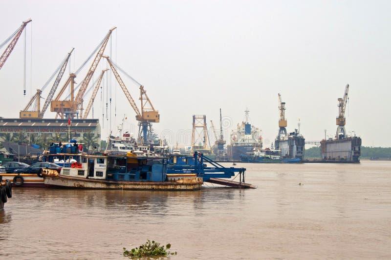 Cargo ships in a port stock photos