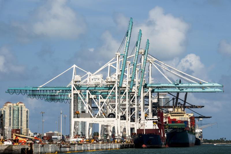 Cargo Ships at Port of Miami royalty free stock photography