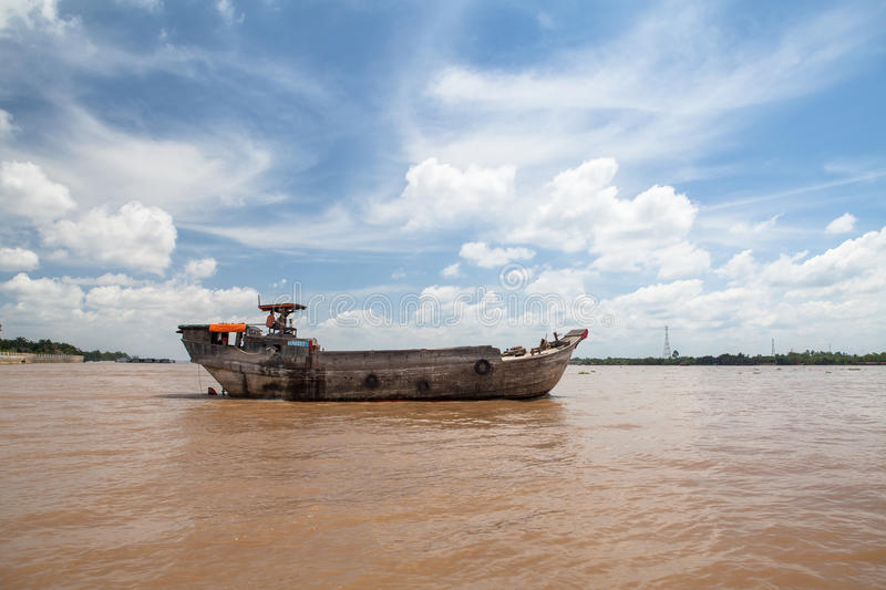 Cargo ships in Saigon river. Vietnam. royalty free stock photography