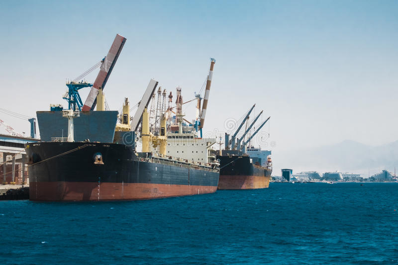 Cargo ships stand in the port of Eilat. On the Red Sea Israel stock image