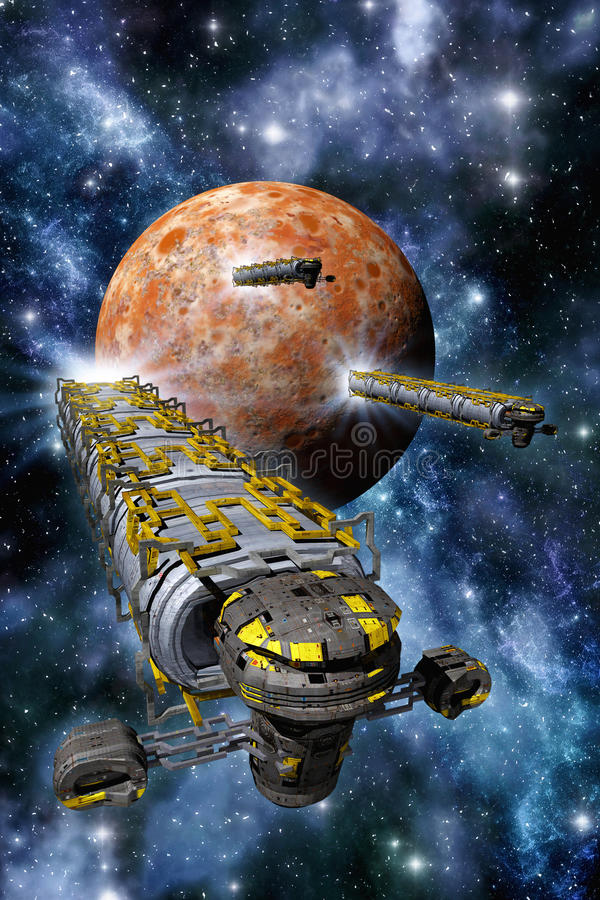 Cargo spaceships with planet and nebula. 3D render illustration stock illustration
