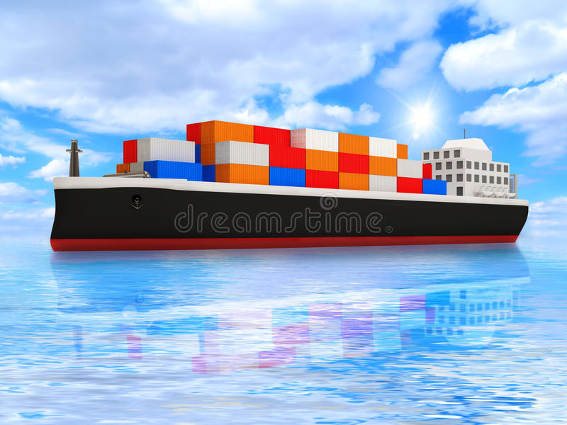 Download Cargo Tanker Ship On Beautiful Ocean Landscape Stock Illustration - Illustration: 23698113