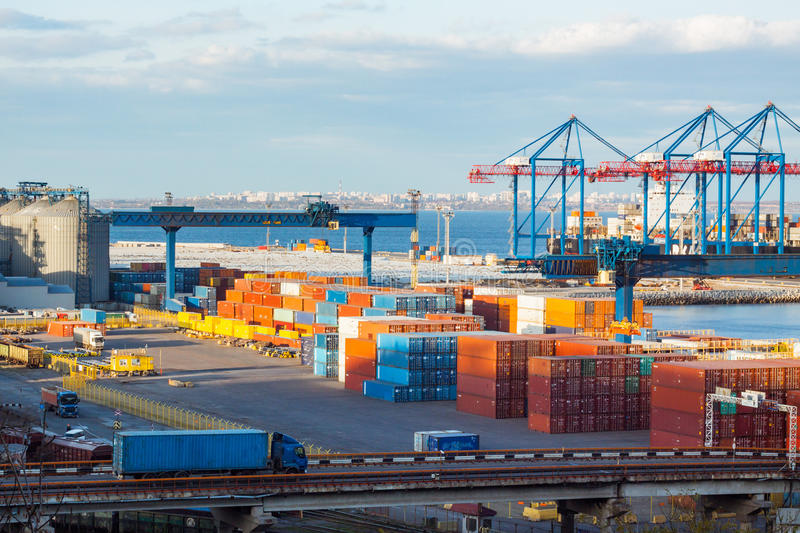 Cargo terminal in the big sea port royalty free stock images