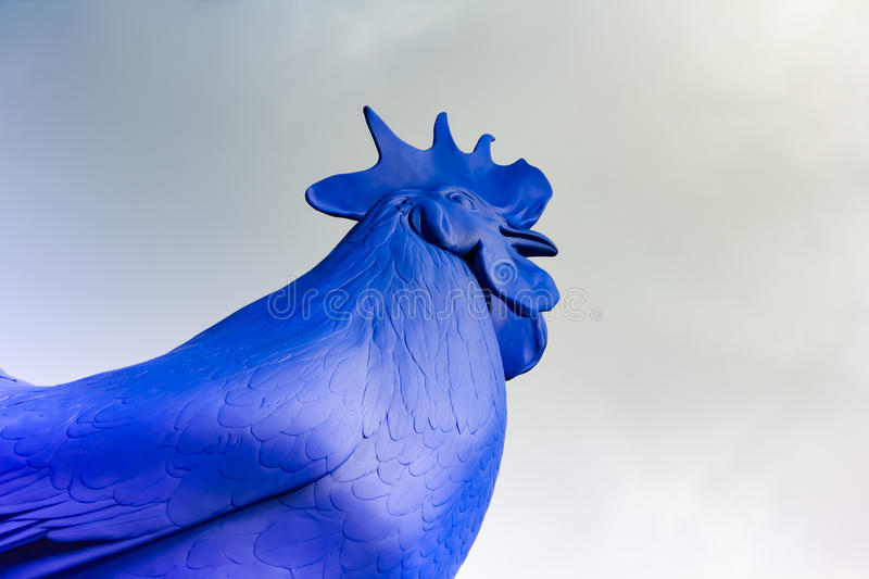 Cargo terminal. Blue cock/rooster sculpture in Trafalgar Square, London, United Kingdom. Hahn/Cock is a sculpture of a giant blue cockerel, designed by the stock photo