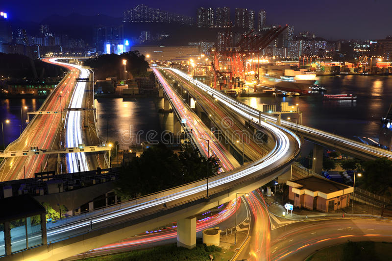 Cargo Terminal and highways royalty free stock photography