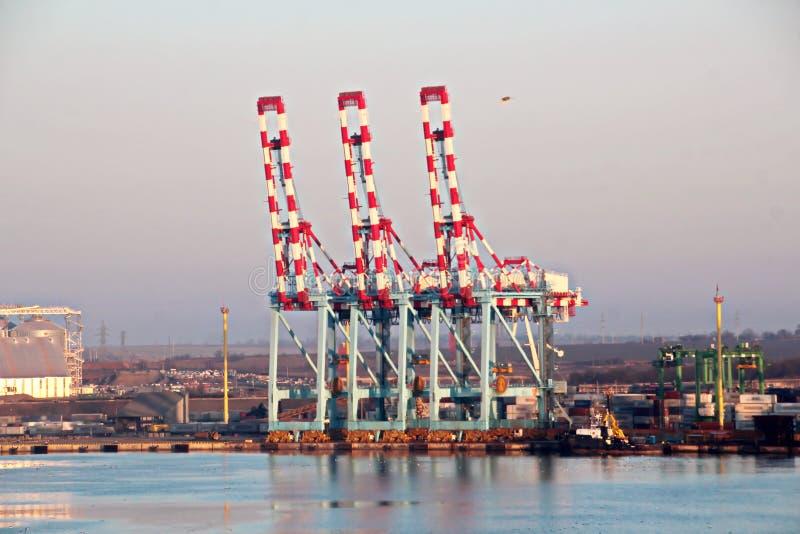 Cargo terminal for loading grain cargo and containers with coastal cranes. Port Yuzhny, Ukraine. January, 2019 royalty free stock photos