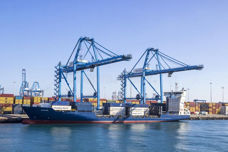 Cargo terminal in the port of Las Palmas de Gran Canaria, Spain. LAS PALMAS DE GRAN CANARIA, SPAIN - DECEMBER 9, 2018: Cargo containers and equipment in the port stock images