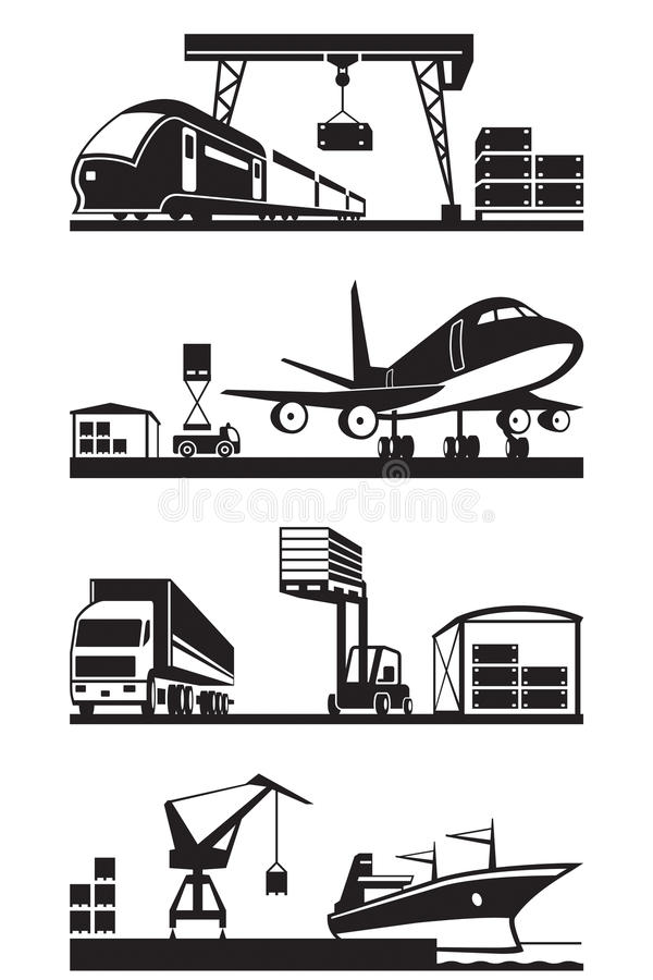 Cargo terminals in perspective stock illustration