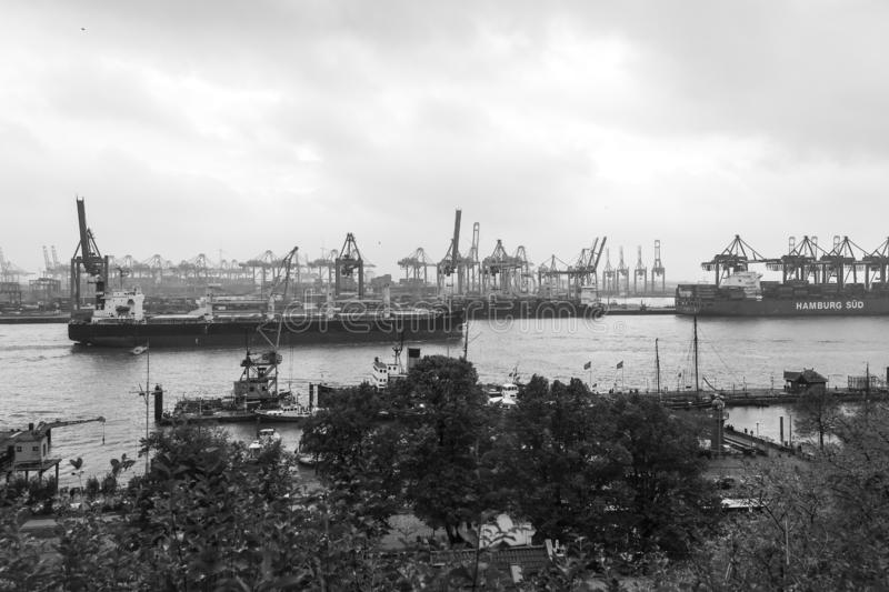 Cargo traffic in Hamburg. It`s the central hub for trade with Eastern & Northern Europe stock images
