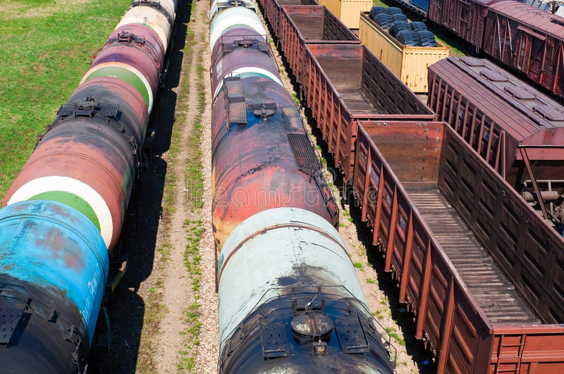 Cargo trail containers. Cargo train containers on sunny day royalty free stock photography