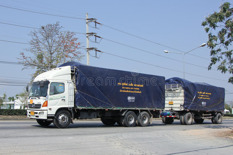 Cargo Trailer truck of Rungthip Asia Transport Company stock image