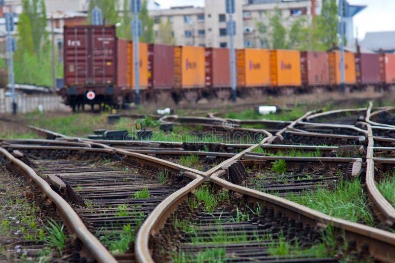 Cargo train awaiting green light stock photography