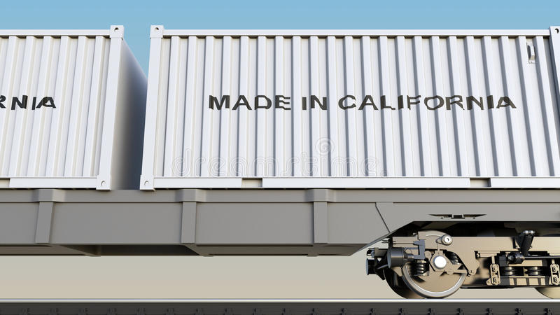 Cargo train and containers with MADE IN CALIFORNIA caption. Railway transportation. 3D rendering. Cargo train and containers with MADE IN CALIFORNIA caption royalty free stock photo