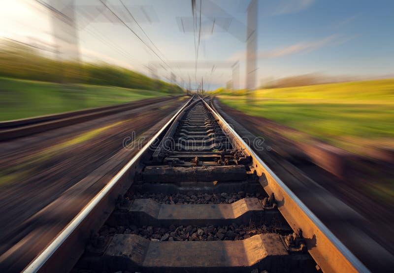 Cargo train platform at sunset. Railroad in Ukraine. Railway stock photo