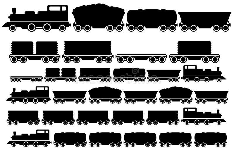 Cargo train set vector illustration