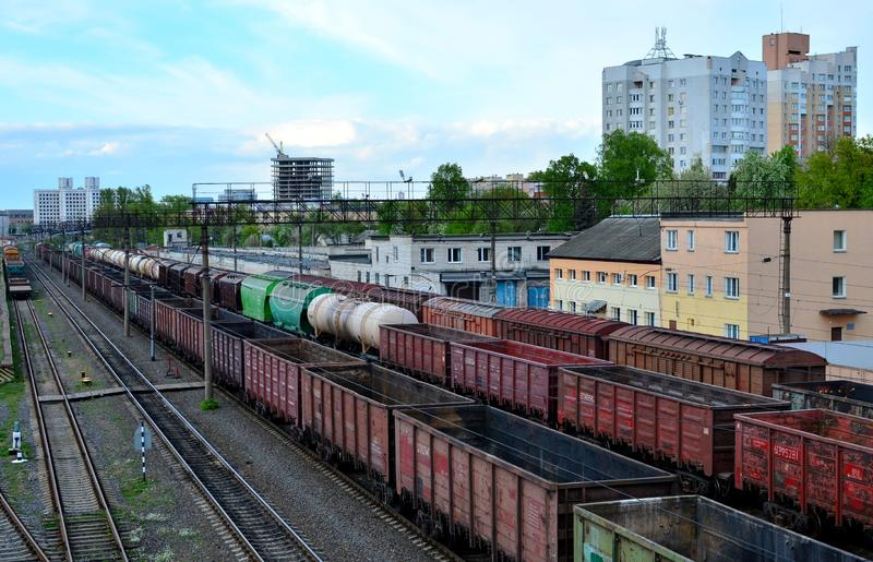 Cargo train in sorting freight railway station, rail freight transport royalty free stock image