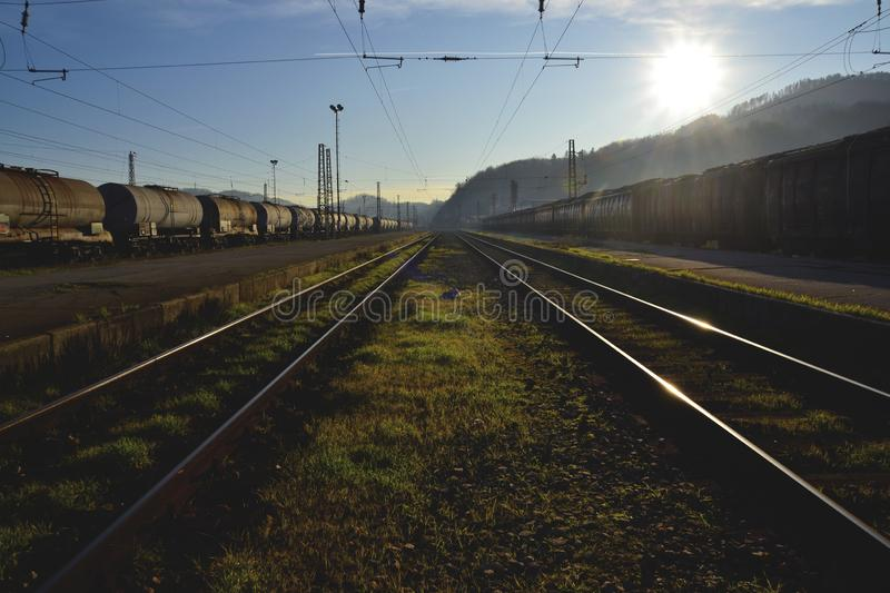 Cargo trains at station stock image