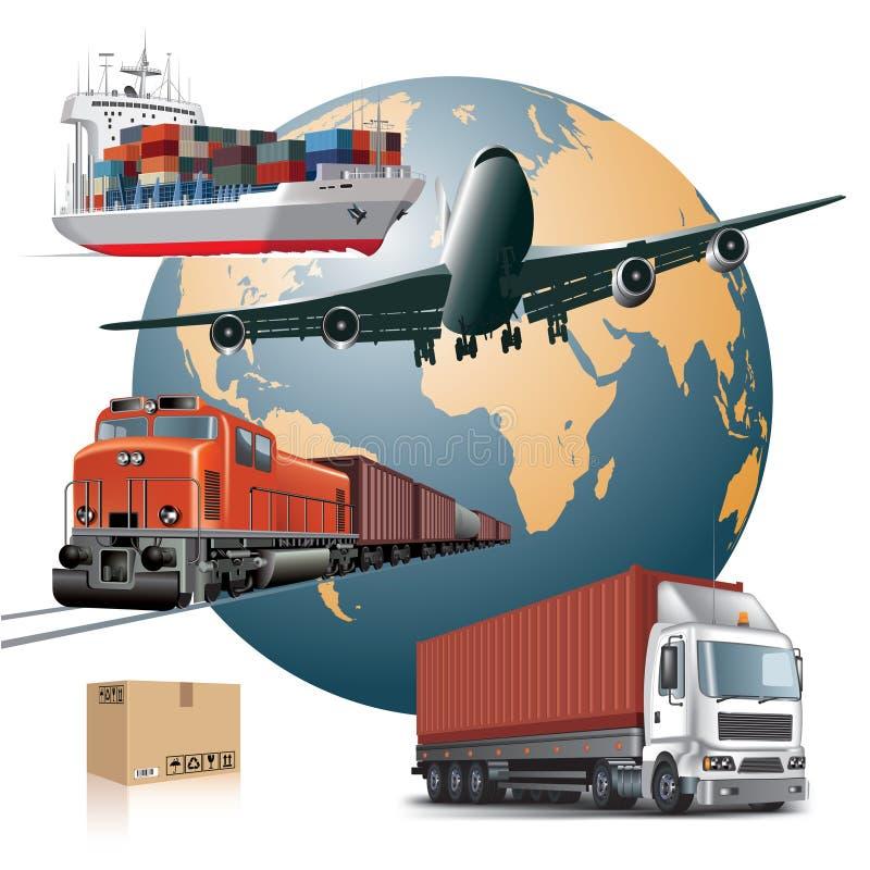 Cargo transport. World wide cargo transport concept. Vector illustration