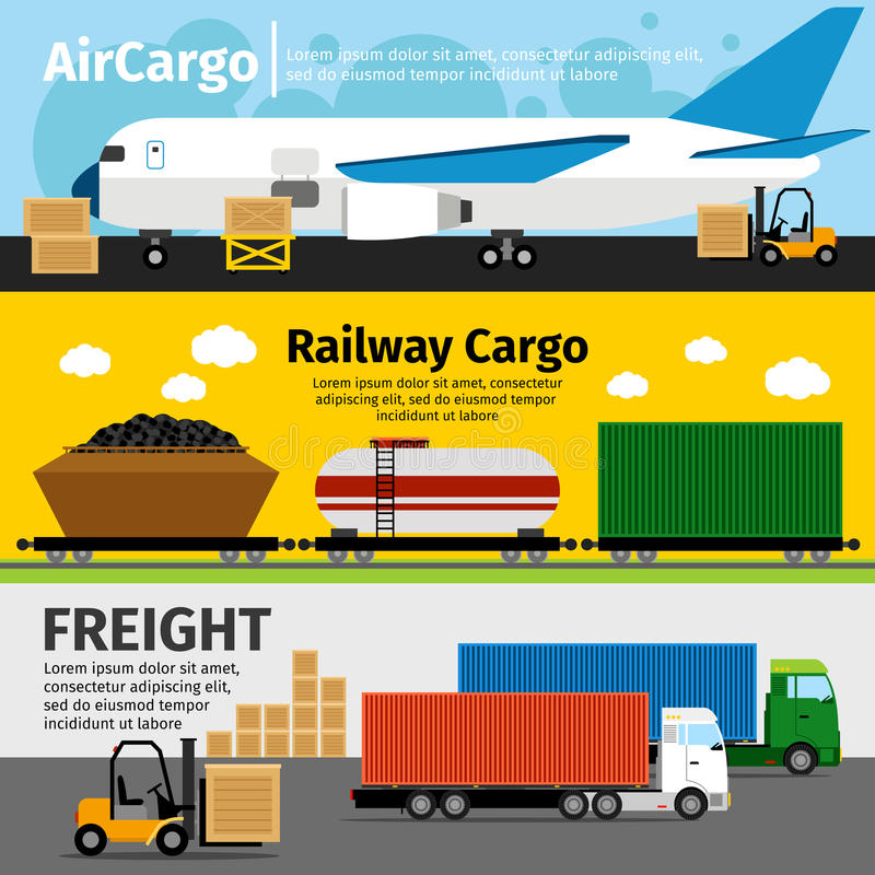Cargo transportation banners. Logistics sea air loads delivery vector illustration. Cargo transportation banners. Logistics and sea and air loads delivery vector vector illustration