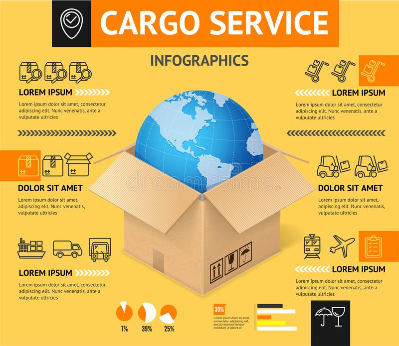 Cargo Transportation Delivery Service Business Infographic Concept. Vector royalty free illustration