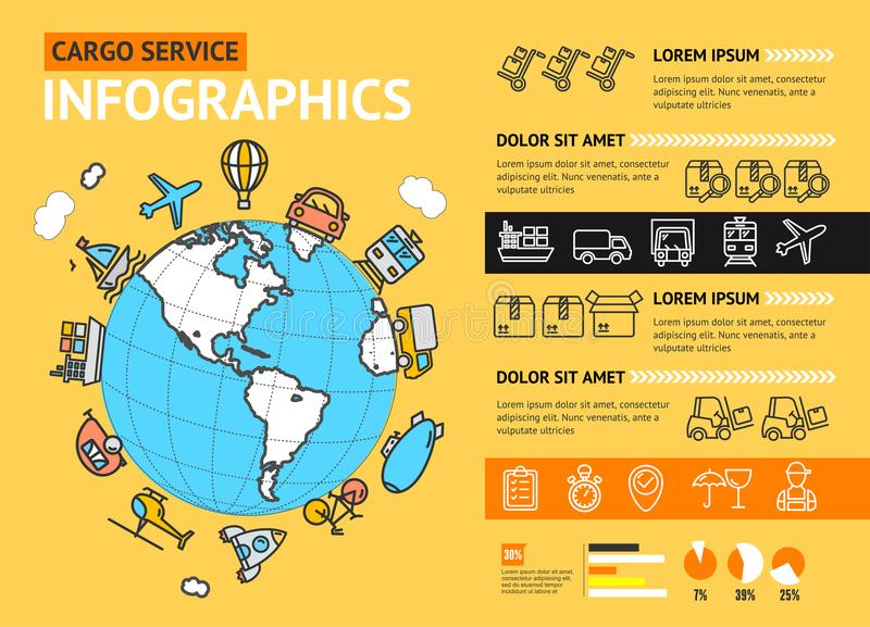 Download Cargo Transportation Delivery Service Business Infographic Concept Vector Stock