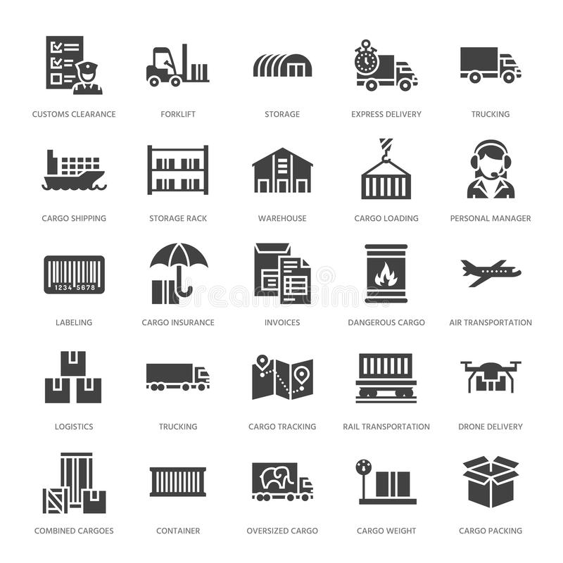Cargo transportation flat glyph icons Trucking, express delivery, logistics, shipping, customs , package, tracking stock illustration