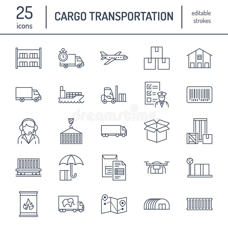 Cargo transportation flat line icons. Trucking, express delivery, logistics, shipping, customs clearance, cargoes vector illustration