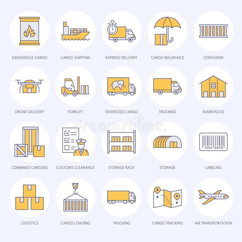 Cargo transportation flat line icons. Trucking, express delivery, logistics, shipping, customs clearance, cargoes royalty free illustration