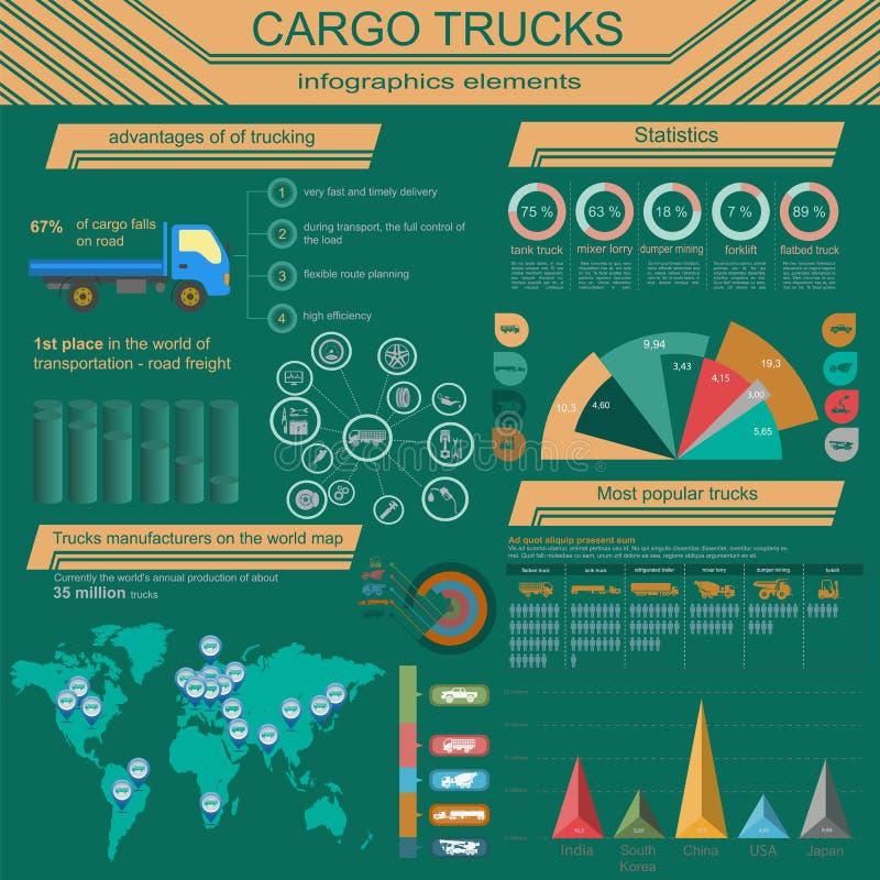Cargo transportation infographics, trucks, lorry. Elements infographics. Vector illustration stock illustration
