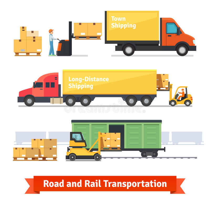 Cargo transportation by road and train vector illustration