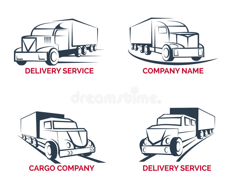 Cargo truck and delivery service logo vector royalty free illustration