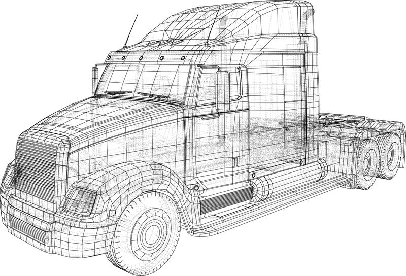 Cargo Truck isolated on grey background. Trucks delivering vehicle layout for corporate brand identity design. Tracing. Illustration of 3d. EPS 10 vector format stock illustration