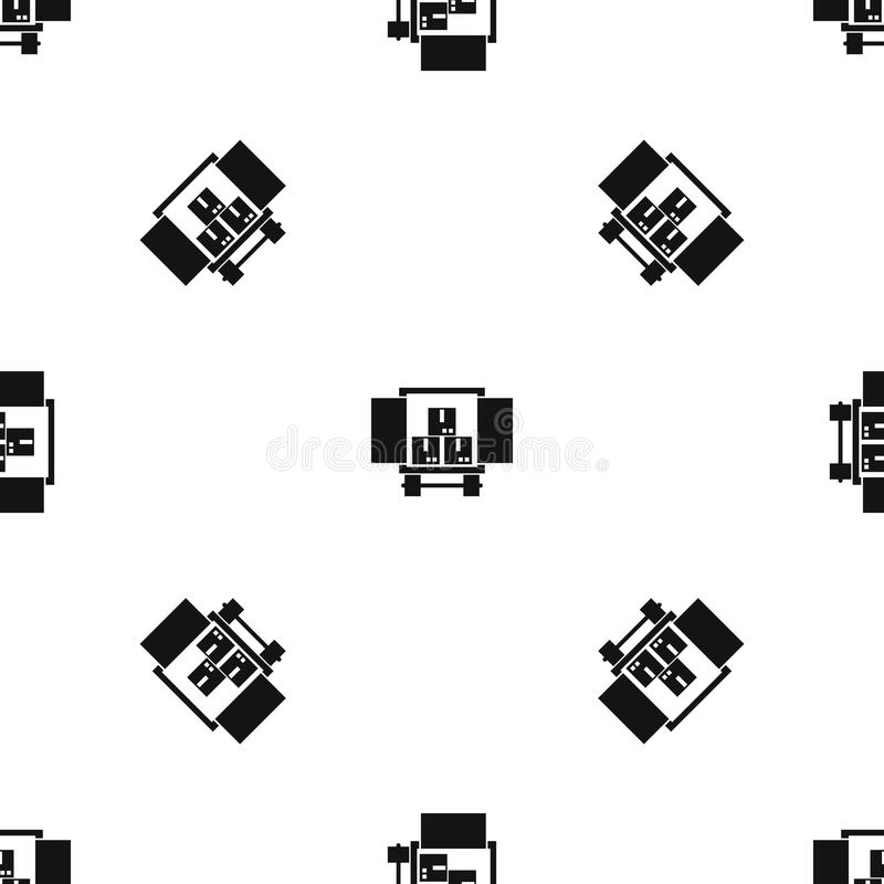 Cargo truck with load pattern seamless black. Cargo truck with load pattern repeat seamless in black color for any design. Vector geometric illustration royalty free illustration