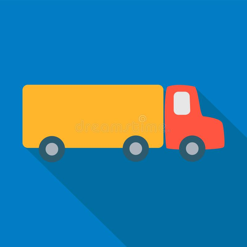 Cargo truck with a red cab and a yellow body on a blue background. Simple style flat icon with long shadow. Cargo truck with a red cab and a yellow body on a vector illustration