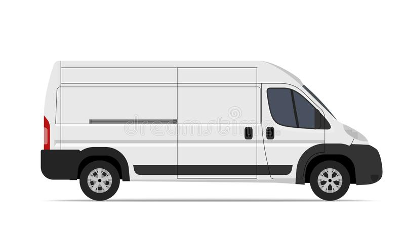 Cargo Van Mini Bus vector template for Mockup Advertising and Corporate identity on transport. stock illustration