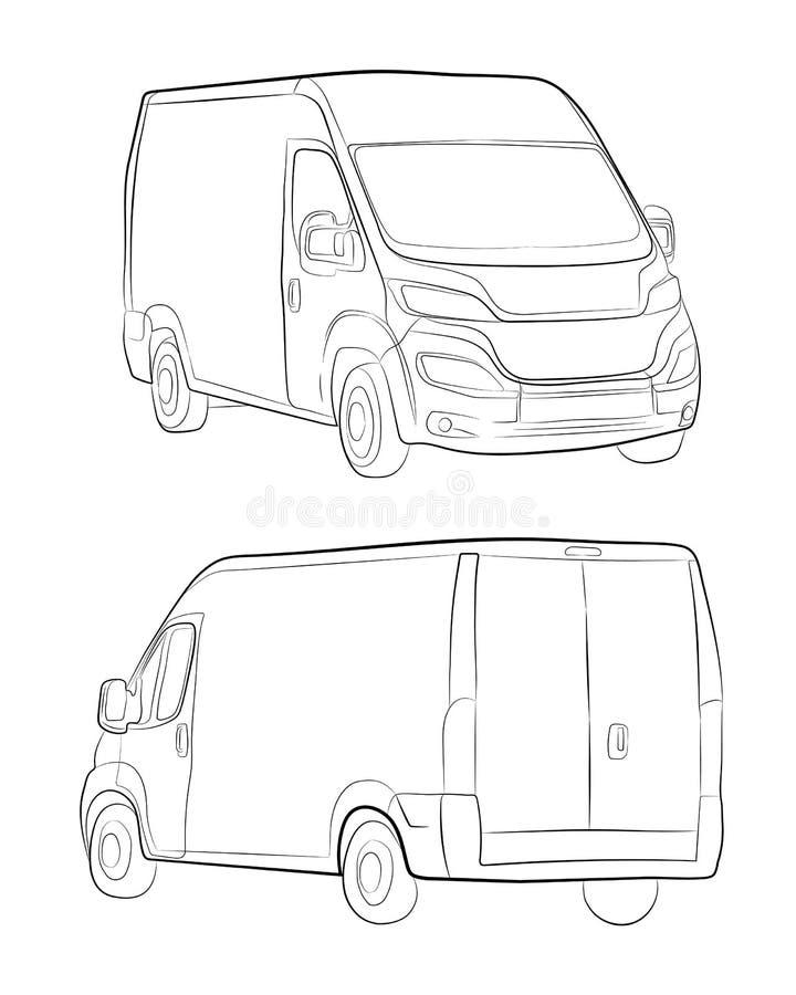Cargo van truck. Minivan car vector drawing illustration eps.10. Cargo van truck. The minivan car vector drawing illustration eps.10 vector illustration